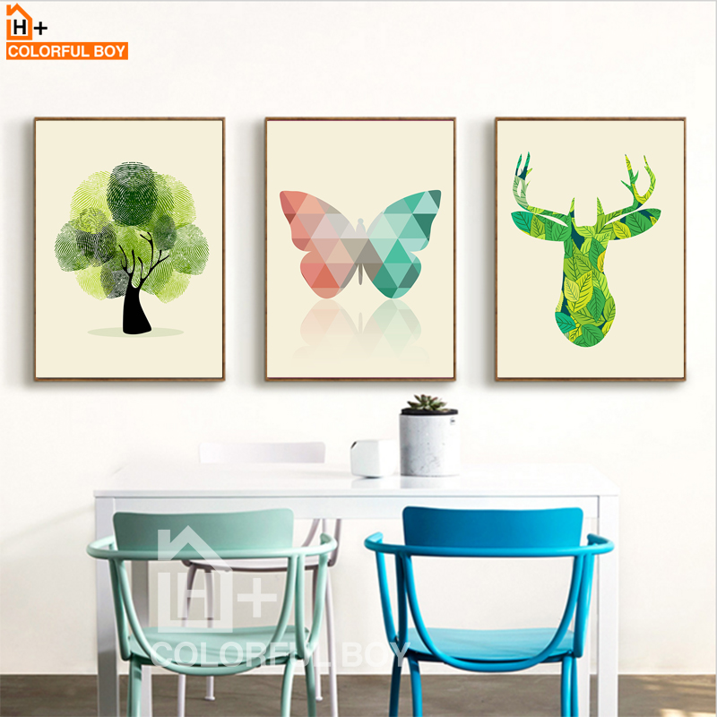 COLORFULBOY Minimalism Nordic Animals Canvas Painting Geometry Wall Art Posters And Prints Wall Pictures For Kids Room Decor