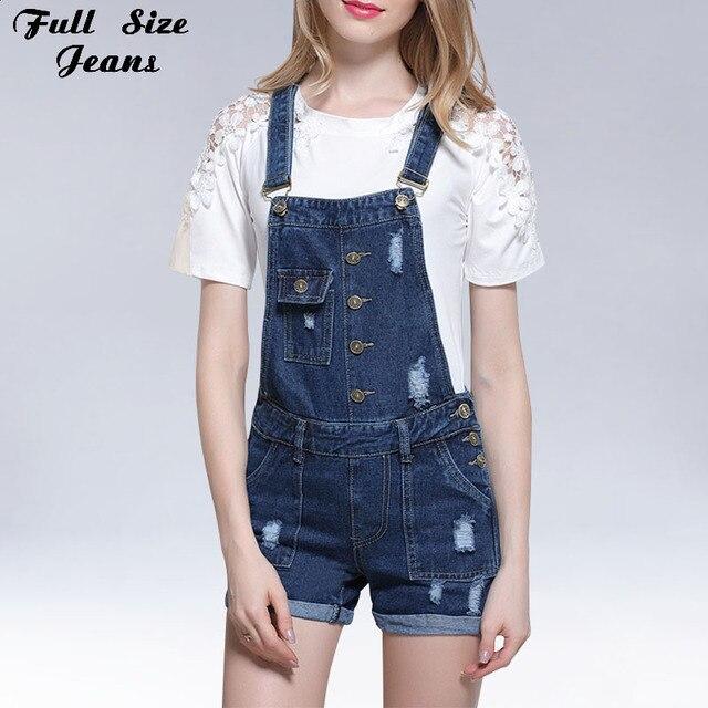 616b339f966 Plus Size Ripped Short Rompers Cuffed Denim Shorts Overalls 4XL 5XL Women  Combinaison Femme Adjustable Strap