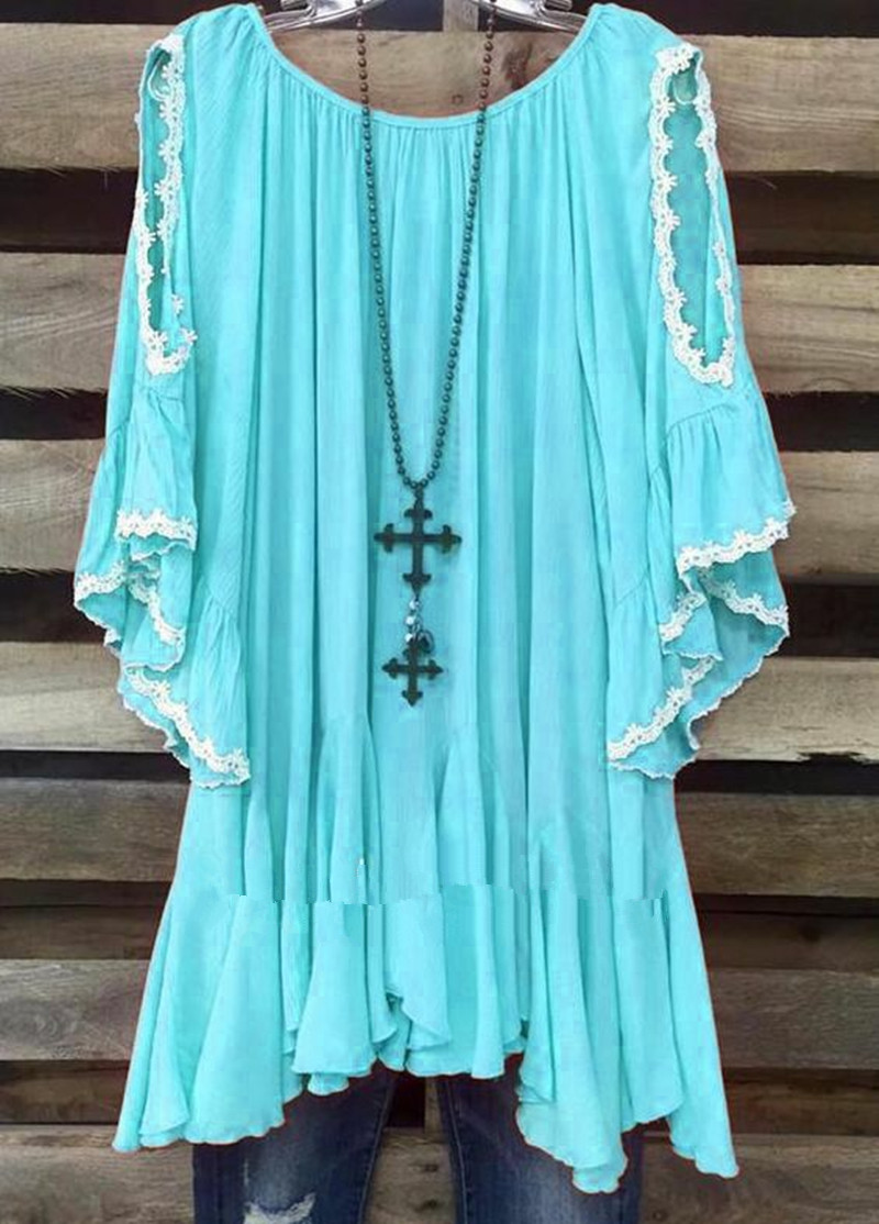 7 Colors 2019 Summer Ruffle Boho Beach Hollow Out Plus Size Shirt Batwing Sleeve Asymmetric Lace Hem Blouse in Blouses amp Shirts from Women 39 s Clothing