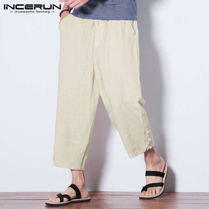 INCERUN Plus Size 2018 Men Harem Pants Drawstring Fashion Cotton Loose Baggy Trousers Men Casual Joggers Retro Pantalon Hombre