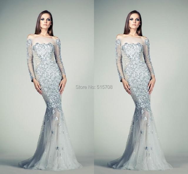 9d91908484 Long Sleeve Evening Dress Off Shoulder Crystal Sequins Beaded Sheer Silver  Celebrity Formal Prom Party Long Evening Dress