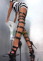 Narrow Band Buckles Black Sandalias Plataforma 16CM High Heel Shoes China Sandals Overknee Thigh High Boots