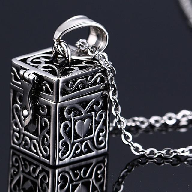 Vintage Box Funeral Urn Necklace