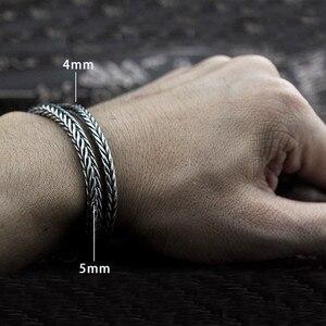 Image 4 - 。雅 4 ミリメートル 5 ミリメートルタイのシルバー男性ブレスレット 100% 925 スターリングシルバースネークチェーンブレスレット男性ヴィンテージスタイルファインジュエリー