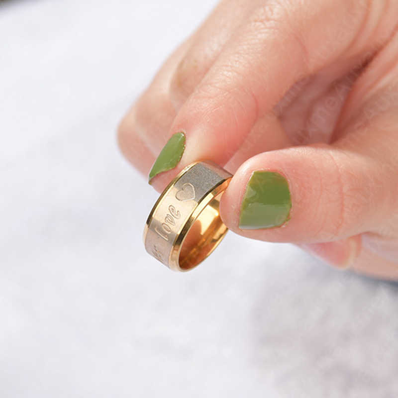 Auxauxme สแตนเลส Forever Love แหวนคู่เครื่องประดับทองคลาสสิก Lover งานแต่งงานวาเลนไทน์ Bague Bijoux