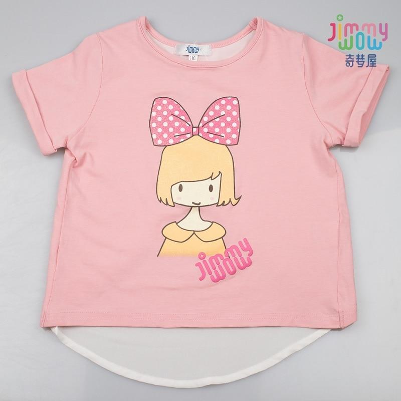 2019 New style spring summer T-shirt children girls tops cute baby school cotton Tees pink girl