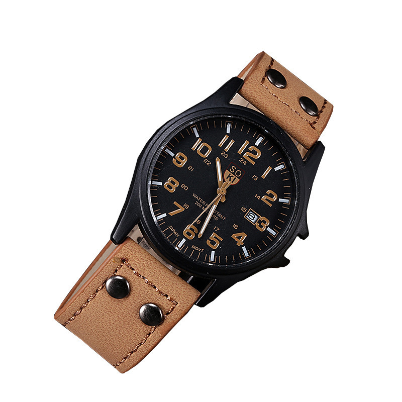 1PCS Men's Leather Watch 2019 Simple Digital Scale Calendar Alloy Dial Fashion Wrist Watch Gift  Bayan Saat A6