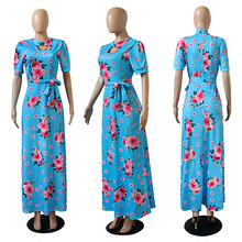 Oversized Print Maxi Swing Slim Dresses For Women Bust Hollow Sashes Boho Floor-Length Summer Beach Dress For Ladies S-5XL 2019 oversized abstract print maxi dress