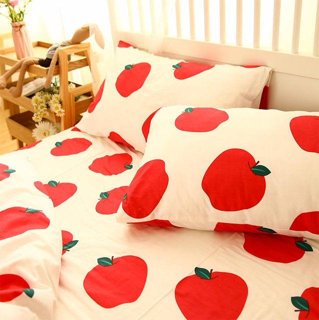 Cartoon red apple carrot bedding sets kid,cotton twin full queen single  double home textiles