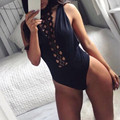 2017 Elegant Rompers Womens Jumpsuit Lady Sexy Sleeveless Eyelash Lace Halter Neck Overall Slim Hollow Backless Party Bodysuit