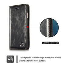 2016 Brand For Coque iPhone 6 Plus Case Luxury Leather Wallet Flip Cover For iPhone 6 plus Leather Genuine Real For Woman Man Bl