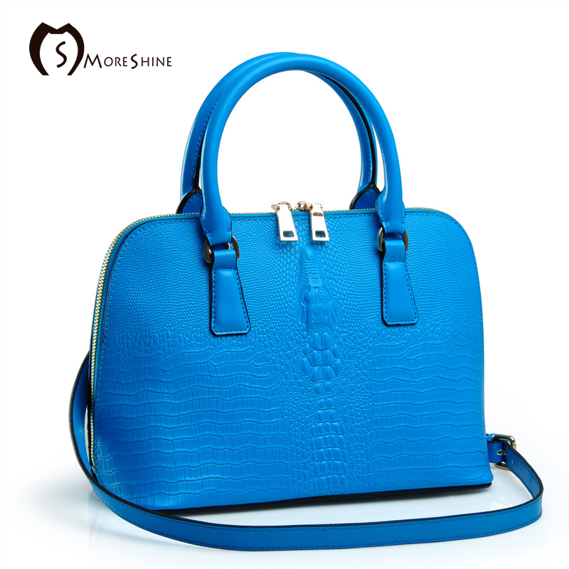 ФОТО MORESHINE brand Women Genuine leather handbags with Crocodile Fashion design women's Shell shopper bag Female shoulder bag tote