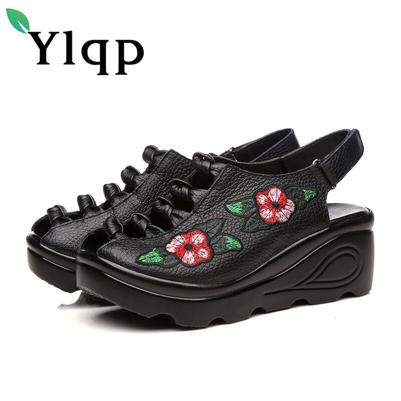 Ylqp бренд Винтаж босоножки на высоком каблуке удобная мягкая подошва Пояса из натуральной кожи Обувь женские босоножки feminina Дамская обувь ...