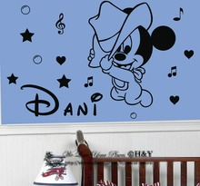 Customized Name Kids Room Decoration Vinyl Decals personalized Mickey Mouse wall Sticke Removable Baby CB-3