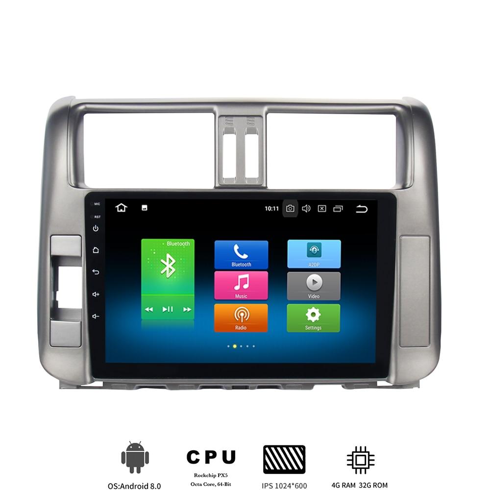 """9 """"IPS Android 8.0 auto multimediální přehrávač pro Toyota Prado 150 2010 2011 2012 2013 Rádio s 8jádrovým 4Gb + 32Gb Vestavěný GPS wifi"""