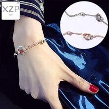 XZP GIRLFRIEND Bracelets for Women Adjustable Friendship Bracelet Simple Double Circle Cross CZ Bangles Fashion Jewelry