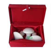 Traditional Acupuncture Massage Tool facial beauty natural white jade mushroom massager 3pieces/set