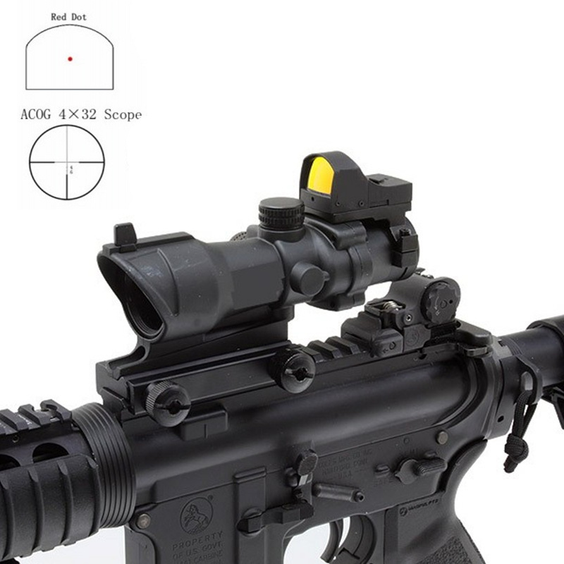 Aim Acog 4X32 Optical Scope With Mini Red Dot Sight Sniper Riflescope Hunting Shooting Rifle Scope AO5317 aim o hunting reddot acog 4x32 optical rifle telescope red green reticle with mount 1 set ao5318