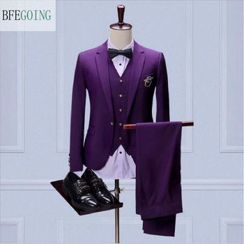 Fashion Regular  Bridegroom Tuxedos  Single Breasted  Groom Wear  Vest +Pants +Tie  For Wedding /Evening Party