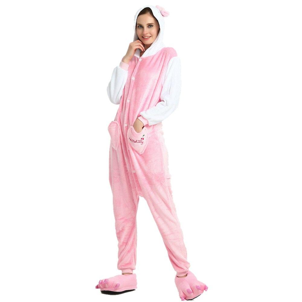 944b239e8a Christmas Onesie Onepiece Adults Kugurumi Kigurumi Pink Cat Animal Onesies  Pajamas Costume Jumpsuit Sleepwear Women Winter