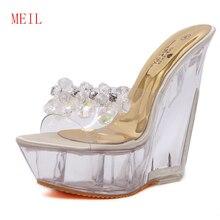 цены на 14CM Ultra-high Heels Crystal Platform Slippers Wedge Mules Transparente Summer Slides Women Sandals 2019 Wild Sexy Shoes Women  в интернет-магазинах