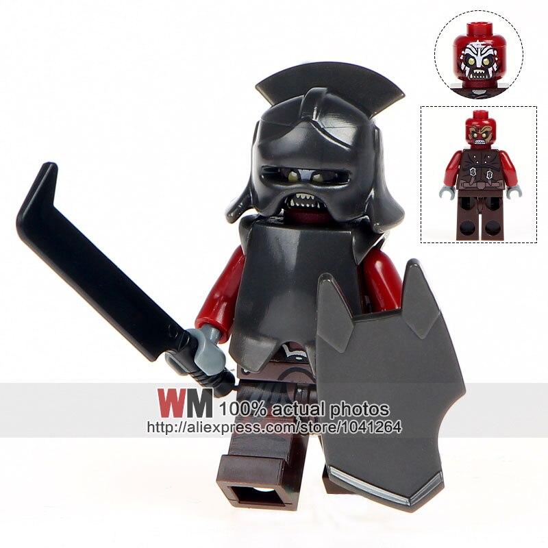 Single Sale Lord Of The Rings Uruk-hai Herr Der Ringe Helmet Building Blocks Kids Toys Children Gift