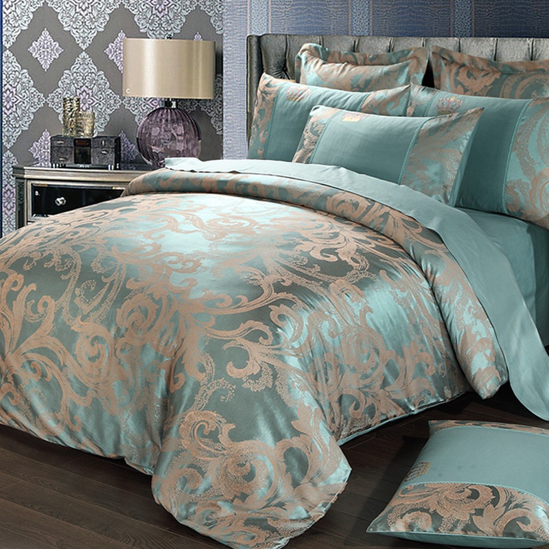 High Quality Satin Bedding Set 4pcs Sheet Duvet Cover Pillowcases Imitated Silk Material US Queen King Size Double Bedding Sets
