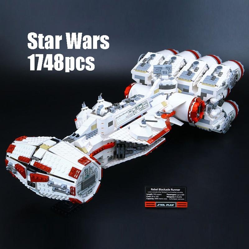 Compatible Legoe 10019 1748pcs Star Wars Tantive IV Rebel Blockade Runner Figure building blocks Bricks toy children Lepin 05046