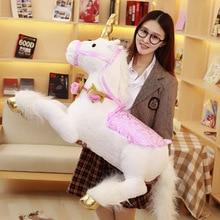 купить 100cm huge stuffed unicorn Horse Plush Toys Doll for Kids Children large Birthday Gift unicorn stuffed animal soft toy fluffy дешево