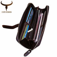 COWATHER 2019 Long Men Wallet Cowhide Purse New Arrival Cow Genuine Leather Wallets Big Capacity Vintage Purses Free Shipping