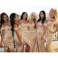 2016 Champagne Vestido de Dama de honra V Pescoço Fora Do Ombro Sexy Frente Dividir Vestidos de Festa de Casamento Da Dama de Honra Vestido Longo de Chiffon BE90