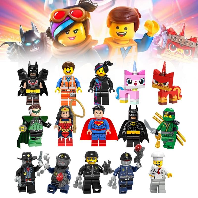 1pcs Lego Movie 2 Figures Emmet Wyldstyle Vitruvius Unikitty Toys