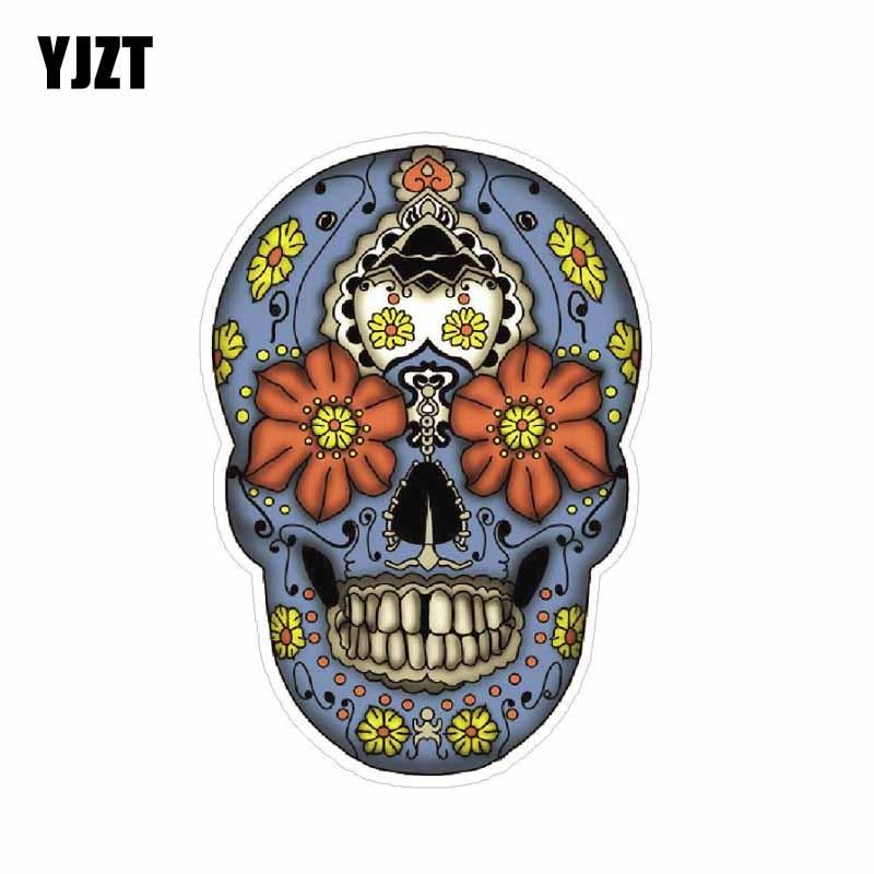 YJZT 7.1CM*10.2CM Car Sticker Classic Motorcycle Sugar Skull Dead Decal PVC 6-0096