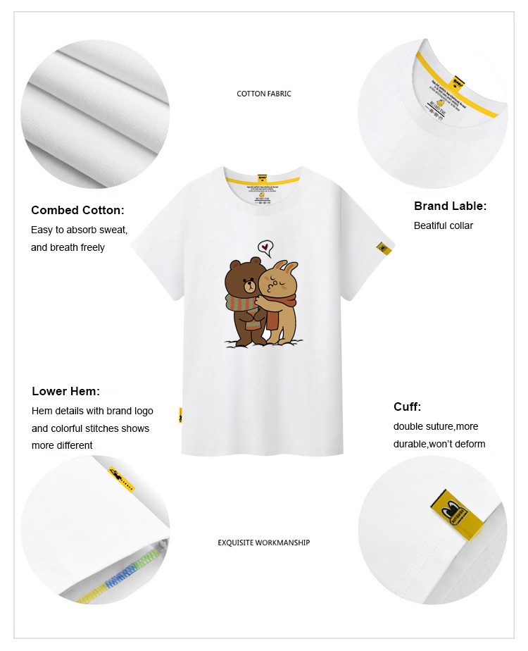 629a9617d 2018 New Korean women kids T shirt short sleeve cartoon line Brown bear  family printing t shirt O neck Casual XS to XXXL size-in T-Shirts from  Women's ...