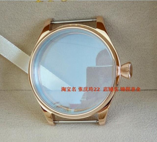 Parnis 44mm 316 de aço inoxidável caixa do relógio de vidro mineral watchcase pvd rose gold alta qualidade por atacado 12
