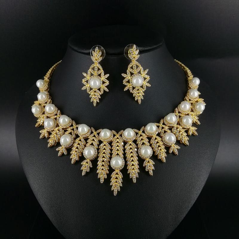 2018 new fashion shell pearl crystal CZ zircon necklace earring bracelet ring jewelry set wedding bride dressing jewelry set new beautiful pink crystal necklace bracelet earring ring set aa265