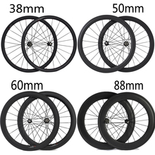 24mm 38mm 50mm 60mm 88mm Remachador Tubular de Carbono de Bicicleta de Carretera Ruedas de Bicicleta de Carbono Super Ligero ruedas de Carreras de Ruedas