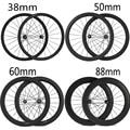 700C 24mm 38mm 50mm 60mm 88mm Carbon Clincher Tubular Road Bike Bicycle Wheels Super Light Carbon Wheels Racing Wheelset