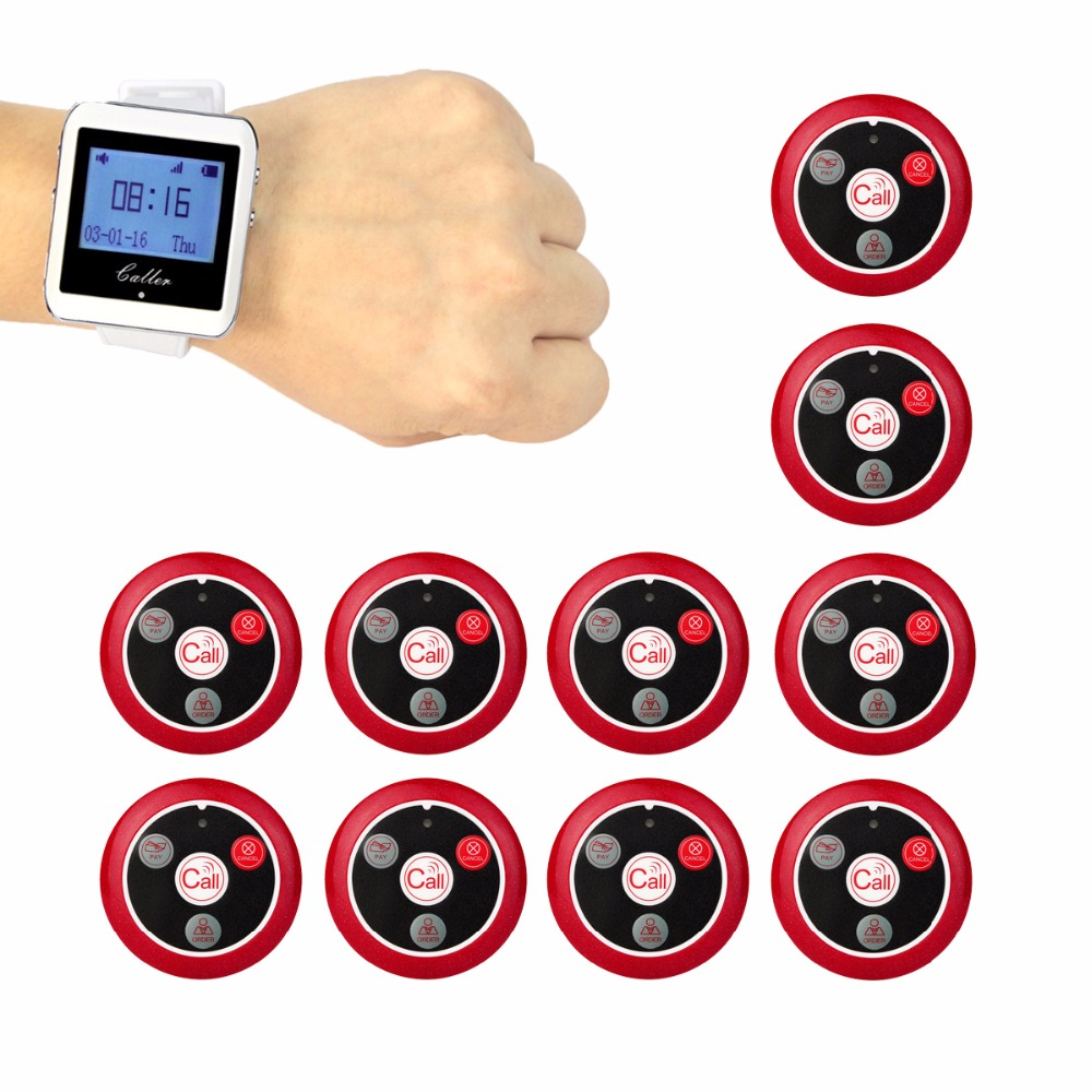 999 Channel Wireless Pager Restaurant Waiter Calling System 10pcs Call Transmitter Button+1pcs Watch Receiver 433MHz F3288 wireless bell button for table service and pager display receiver showing call number for simple queue wireless call system