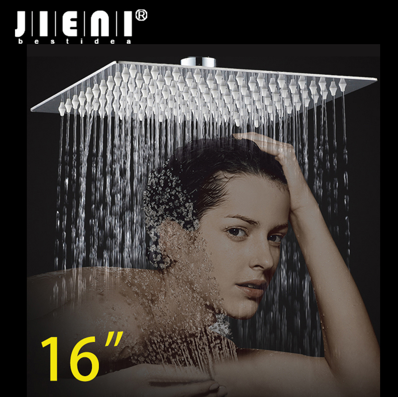 LED 16 Inch Rain Shower Head LED Stainless Steel square Shower Head Bathroom Ultra-thin Shower Head ydl bd005 1 16 temperature control 24 led rgb light 304 stainless steel square shower head silver
