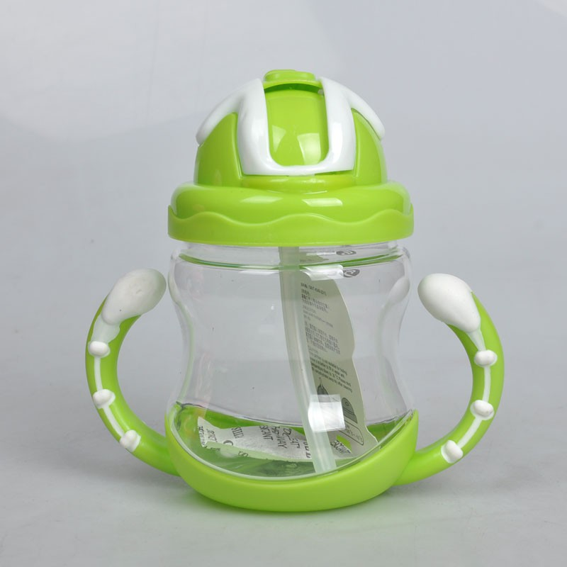 320ml Baby Bottle Kids Cup Silicone Sippy Children Training Cups Cute Baby Drinking Water Straw Handle Feeding Bottle 2018