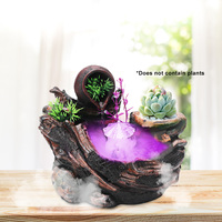 Artificial Landscape Indoor Desktop Water Fountains Rockery with Mini Water Pump Colorful Lights Office Home Living Room Decor