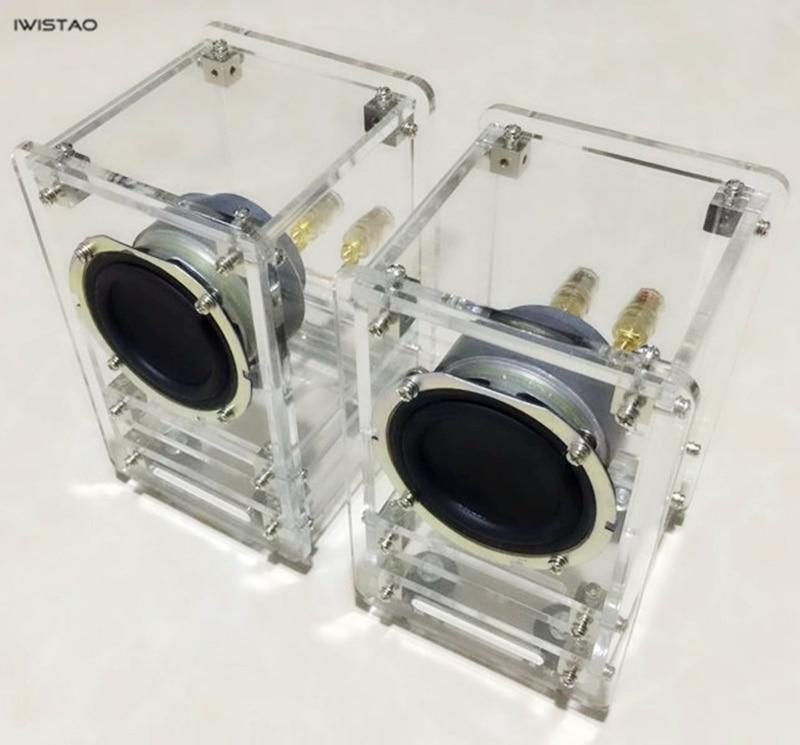 цена на IWISTAO 20W HIFI 2.75 Inch Transparent Labyrinth Speaker 5MM Acrylic Plate 4 ohm 84dB 1 Pair Stereo Audio