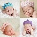 Infantil del bebé de la venda de la corona tejido de punto de ganchillo Soft Adorable ropa recién nacidos fotografía atrezzo bebé bebé foto del casquillo del sombrero