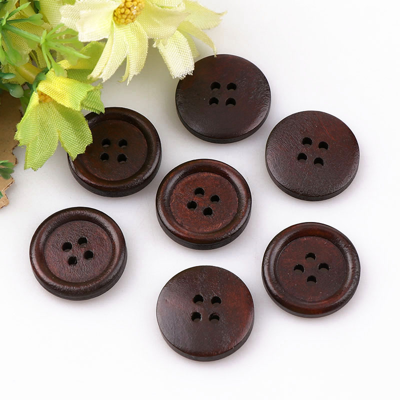 High Quality Sewing Accessories Dark Coffee Wooden Buttons Sewing Scrapbooking 4 Holes Round Brown 18mm 50PCS For Clothes