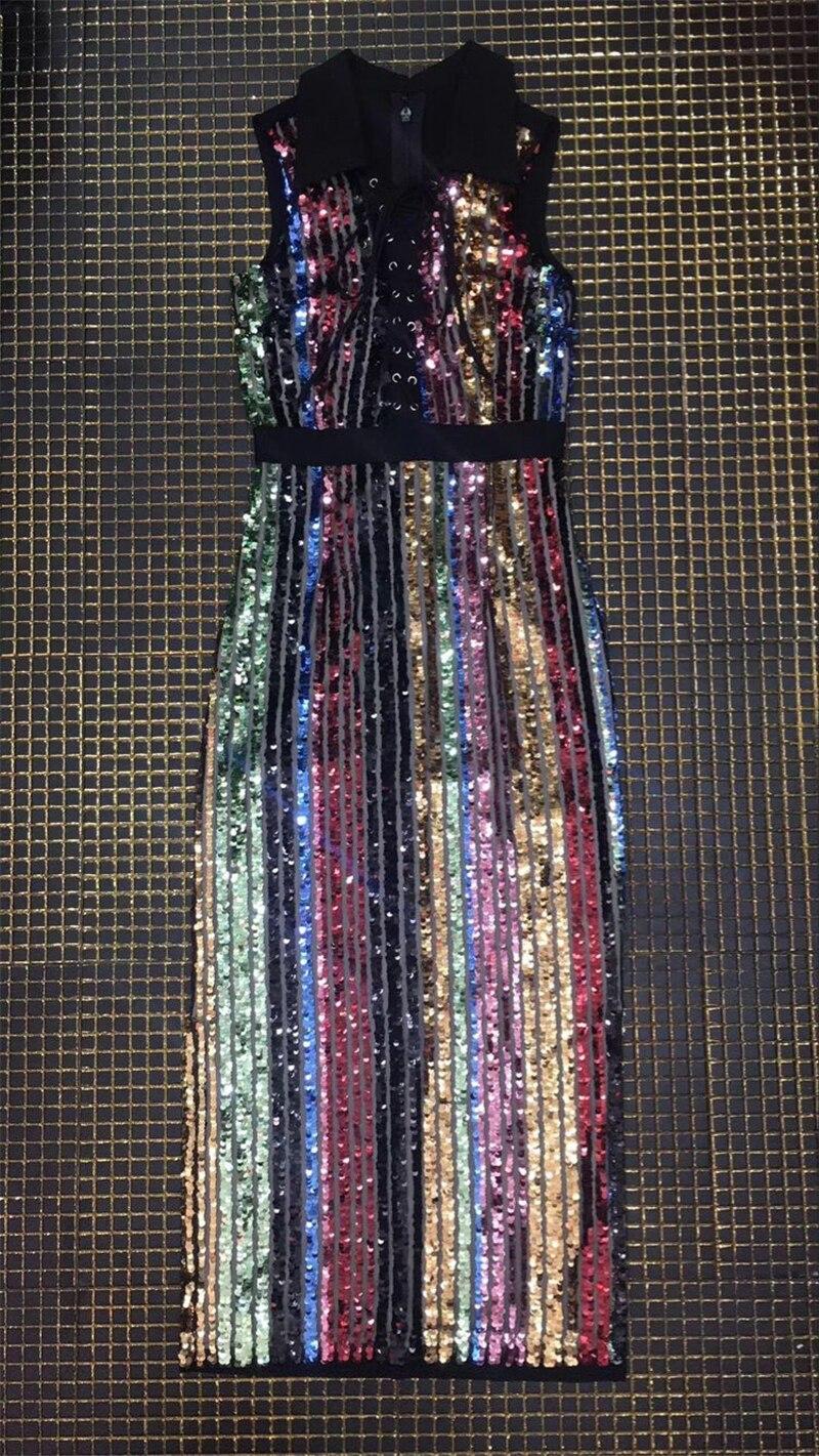 Date Qualité Moulante Rayé Bandage Multicolor Longue De Célébrité Haute Lumineux Cocktail Mode Robe Colorée avWnafZr