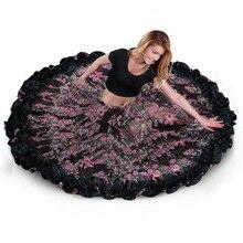 สเปน Bellydancing กระโปรง Flamenco กระโปรงชีฟอง 720 ° ขนาดใหญ่ GYPSY Swing Belly Dance กระโปรง gypsie เครื่องแต่งกาย TRIBAL 25 YARD กระโปรง