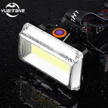 Built-in 2400mAh LED Headlamp USB charge Outdoor 8000Lms COB headlight Portable Searchlight lantern flashlight For Bicycle light(China)