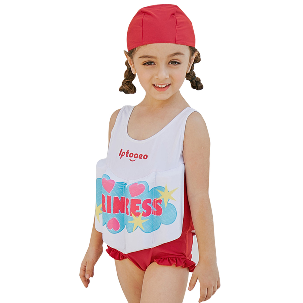 SABOLAY 2018 Girls Buoyant Swimming Suits with Hat Children One-piece Swimwear Baby Life ...