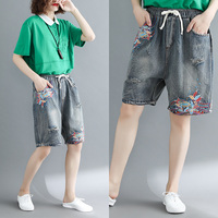 Vintage Floral Embroidery Denim Shorts Elastic Waist Jeans Short Femme Frayed Shorts For Women Summer Shorts